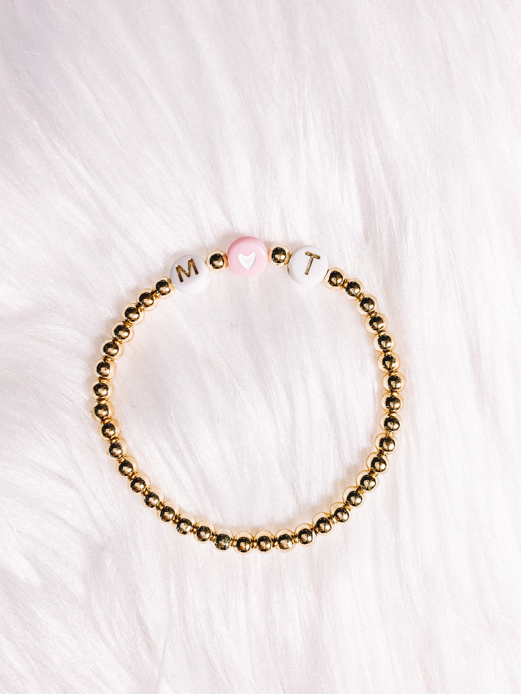 Initial Bracelet- White & Gold with Pink Heart