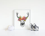 Wall Print - Deer Sketch with Flowers