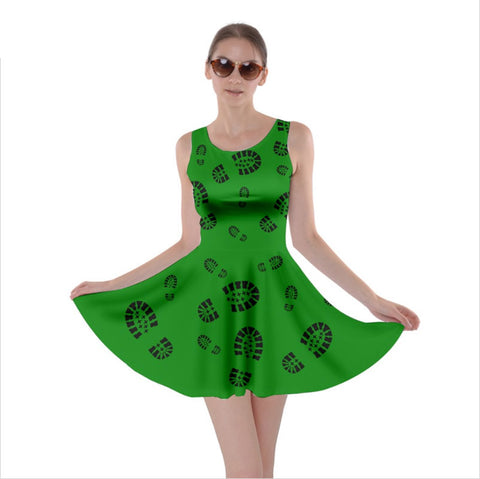 Boot Print Skater Dress- Green with Black Prints
