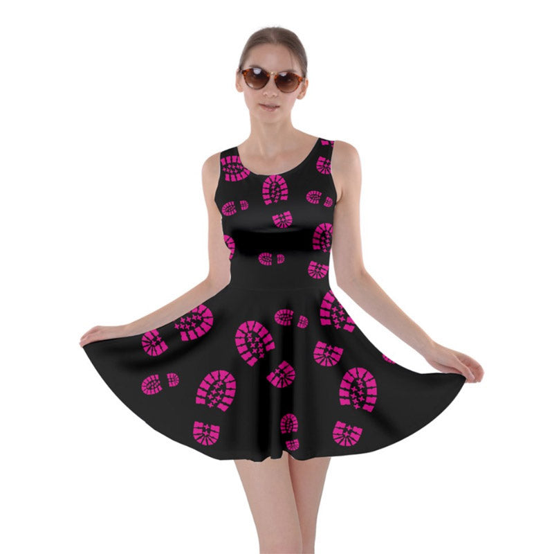 Boot Print Skater Dress- Black with Pink Prints