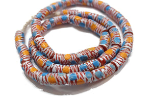 33 Colorful African Krobo Glass Beads, Ethnic Beads for Jewelry (VA499)