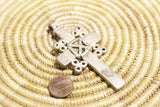 Ethiopian Cross, Ethnic Jewelry Supplies, African Lost Wax Pendant (AK54)