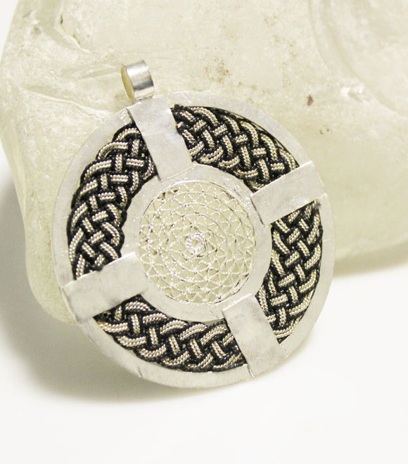 Black and Silver Ethiopian Braided Pendant, African Pendant,Cross Pendant, Jewelry Supplies (AK147)
