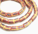 10 Colorful Glass Beads Made In Africa, Hand Made Beads, Unique Jewelry Supplies (o-143)