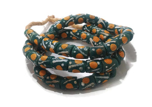 Green and Orange African Krobo Beads Recycled Glass Beads, Ethnic Beads (SA77)