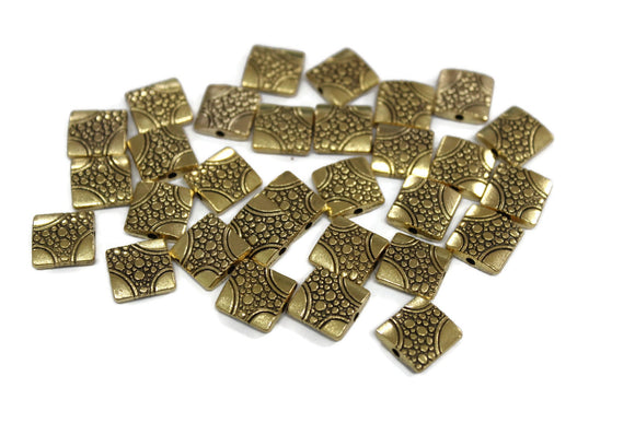 30 Square Hypoallergenic gold tone spacer beads from India 11 mm (VA448)