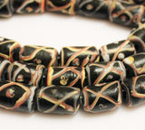 Black Indonesian Lampwork Beads, Java Glass Beads , Ethnic Jewelry Supplies (f87