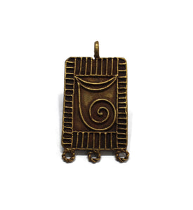 Ethnic Lost Wax Brass Pendant 64X34 mm, African Pendant, Jewelry Supplies (TA490)
