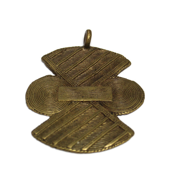 Big Bold African Pendant 89x78 mm, Lost Wax Brass Pendant, Ethnic Jewelry Supplies (WA361)