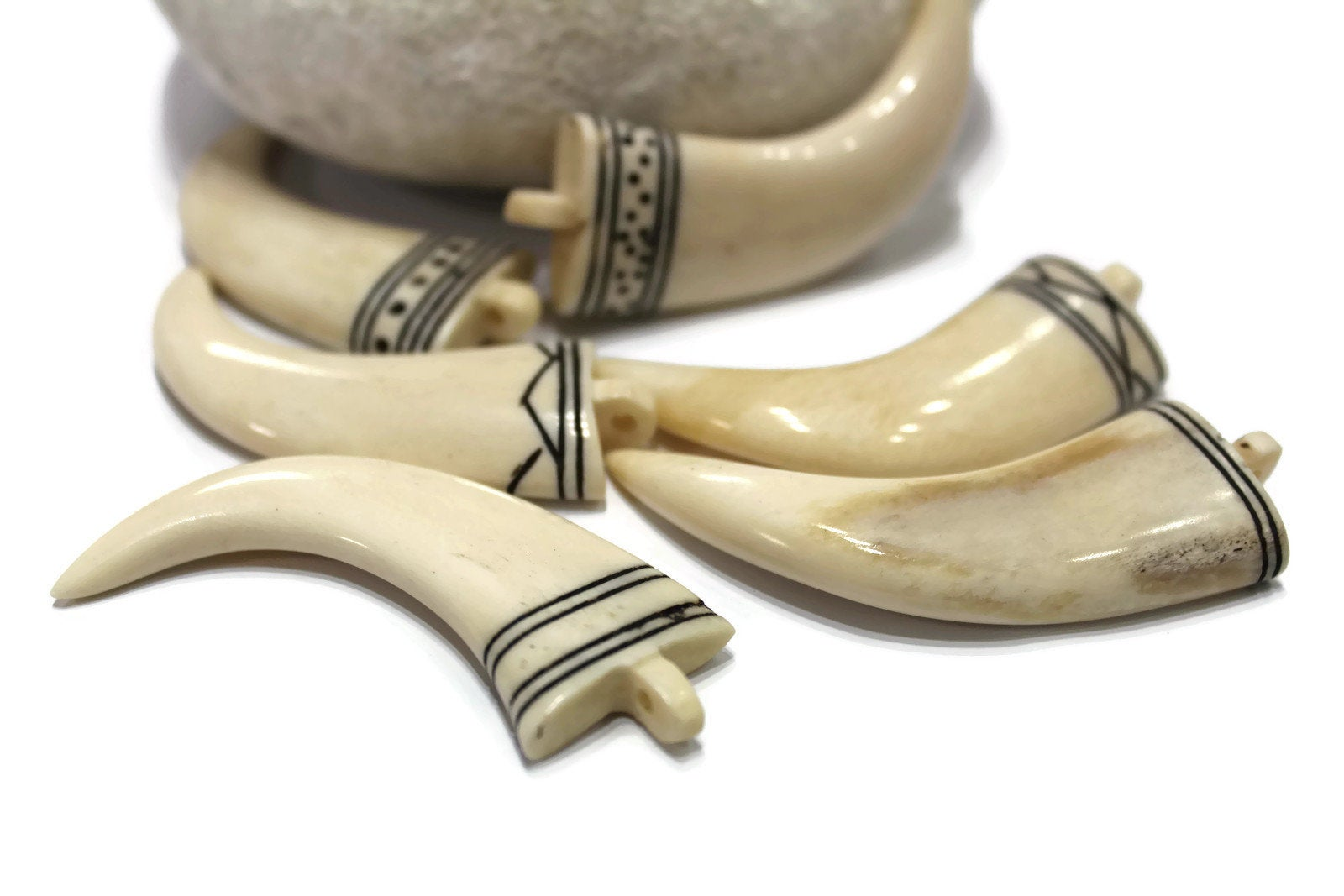 Hand Carved African Ox Bone Tusk Pendants AR211 Ethnic Jewelry Supplies