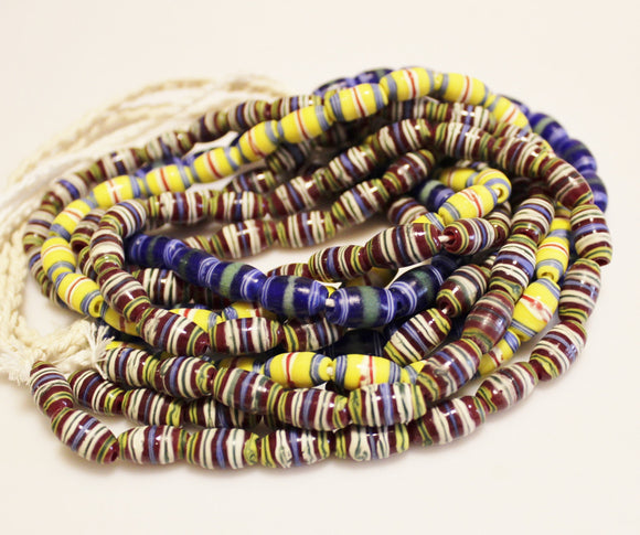 5 Strands Striped Indonesian Lampwork Beads, Artisan Beads, Ethnic Jewelry Supplies (T136)