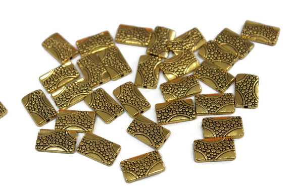 30 Rectangle Hypoallergenic gold tone spacer beads from India 9x16 mm (VA447)