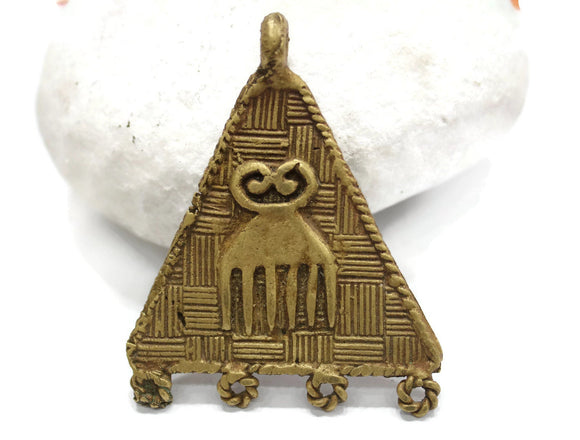 African Duafe Adinkra Comb Pendant, Ethnic Jewelry Supplies (AQ290)