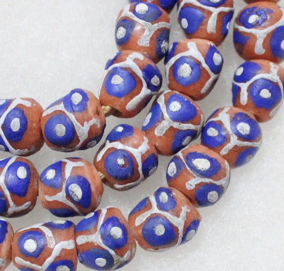 10 African Powder Glass Beads Made In Ghana, Krobo Beads (a47)