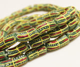 Green Red Yellow African Beads (12), Tribal Beads from Krobo Ghana, Ethnic Jewelry Supplies (P87)