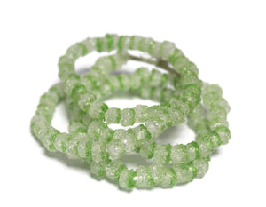 110 Clear and Green Sparkly African Recycled Glass Beads, Unique Glass Beads, Jewelry Making Supplies (TA348)