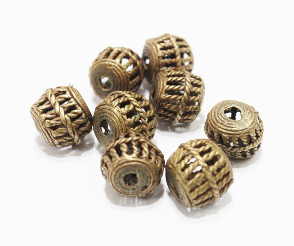 8 African Cage Beads,Ethnic Brass Beads, Spacer Beads (AQ127)