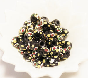 60 Black Dotted Indonesian Glass Beads, Eye Design Beads, Ethnic Beads (x173)