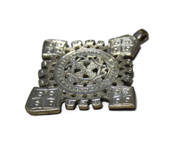 Intricate Cross Pendant Made in Ethiopia 77X64 mm ,Christian Jewelry Supplies, X mas Gifts (SA33)