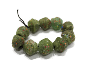 Green Rustic Glass Beads Handmade in India, Unique Trade Beads for Jewelry (VA97)
