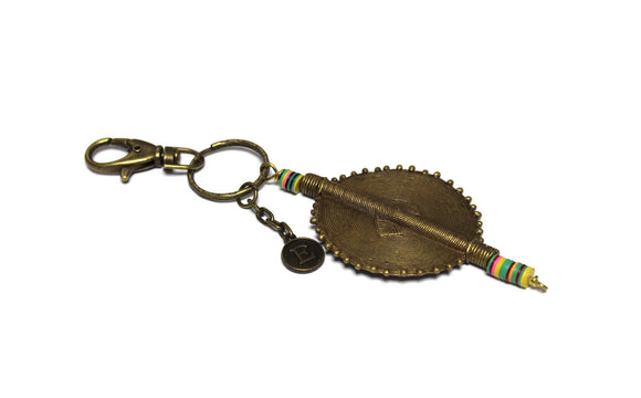 Large African Brass Beaded Keychain, Ethnic Zipper Charm, Unique Keychain, Gifts Under 25 (TA263)