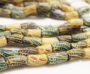 "Colorful African Glass Beads 23"" Strand , Ethnic Krobo Beads (M13)"