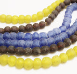 African Recycled Glass Beads 3 Strands, Rustic Ethnic Beads (S141)