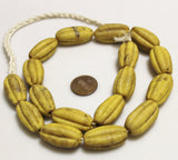 Large Mustard Fluted Beads made in Indonesia, Ethnic Beads, Melon Glass Beads (U16)