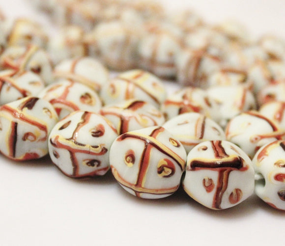 Indonesian Lampwork Beads, Java Glass Beads , Ethnic Jewelry Supplies (E146)