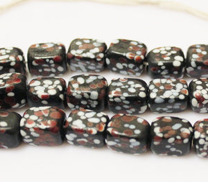 Rectangle Glass Beads, Black White Red Indonesian Lampwork Beads , Java Beads (E73)