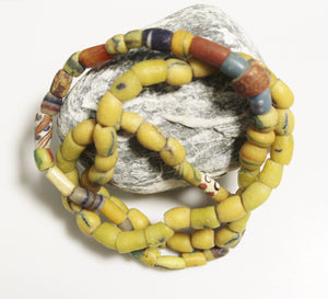 Old Yellow African Beads Mix, Jewelry Supplies, Unique Ethnic Beads, Rustic Beads (*AJ304*)