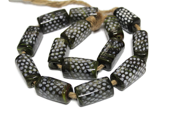 Dark Green Rectangle Glass Trade Beads from India (WA63)