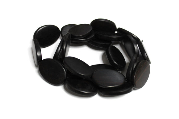 Large Flat Oval African Ebony Wood Beads, Ethnic Jewelry Supplies, Organic Beads (WA460)
