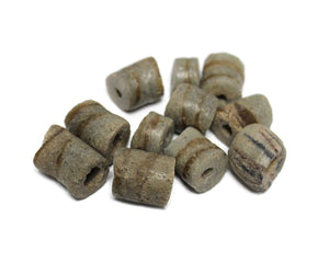 11 Rustic Gray African Glass Beads, Old Ethnic Beads, Jewelry Supplies (TA249)