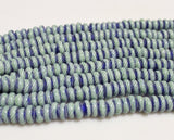 Blue Striped Indonesian Glass Beads, Rondelle Beads, Ethnic Jewelry Supplies (u71)