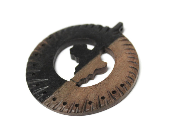 Africa Map Pendant made of Ebony wood 66x60 mm, Ethnic Jewelry Supplies (SA253)