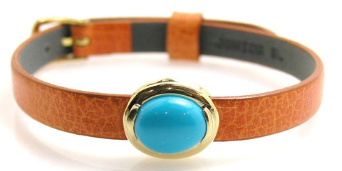 Turquoise Leather Bracelet .