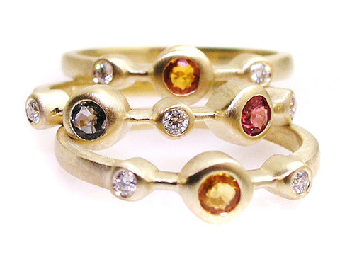 Multi color sapphire rings set .