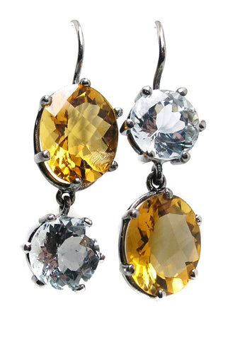 Citrine & Aqua earrings .