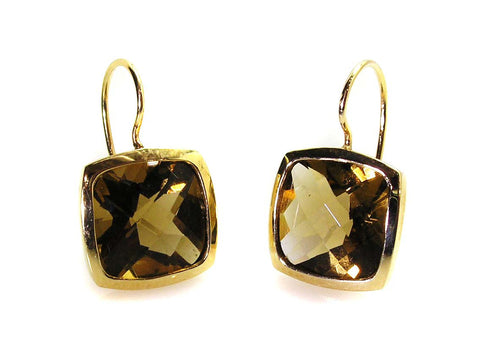 Smokey Citrine Earrings .