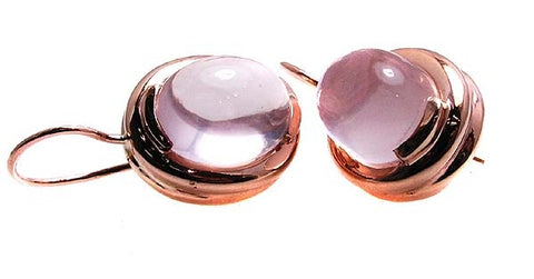 Rose Quartz Earrings .