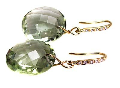 GREEN AMETHYST EARRINGS .
