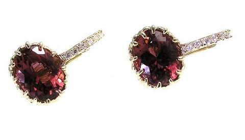 PINK TOURMALINE EARRINGS .