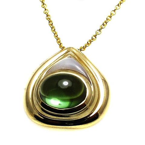 GREEN TOURMALINE PENDANT .