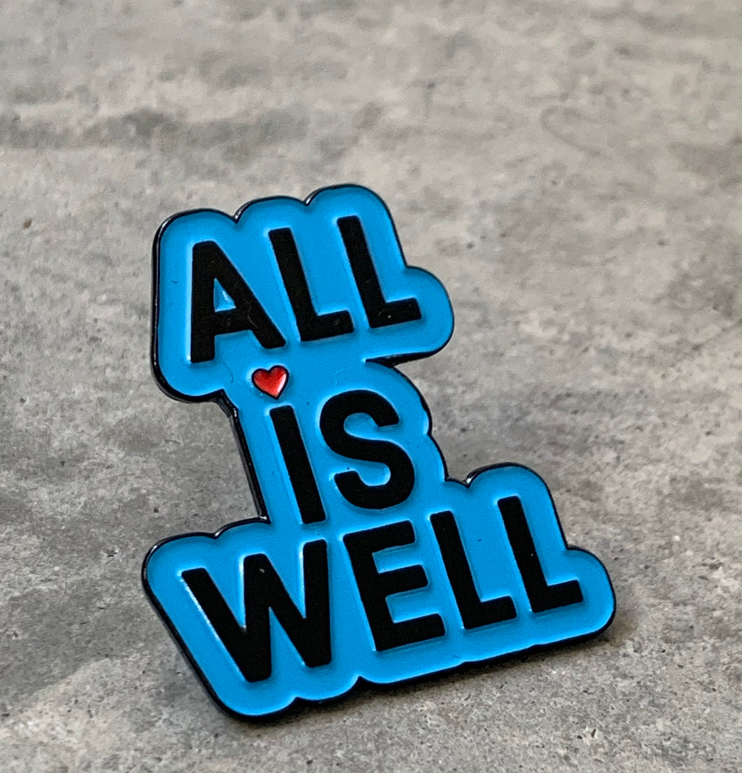 """ALL IS WELL"" Inspirational Fashion Pin (Chicago Blue)"