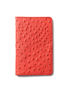 Pasión (Passion) Red Ostrich Leather Passport Holder