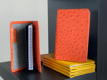 Load image into Gallery viewer, Tangerine Ostrich Leather Passport Holder