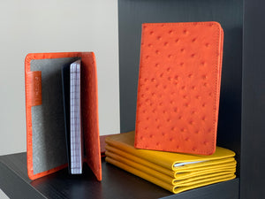 Tangerine Ostrich Leather Passport Holder