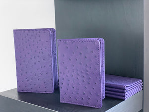Amethyst Ostrich Leather Passport Holder