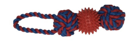 DOG TOY TUG ROPE 2 BALL + TPR BALL 11""